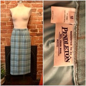 Pendleton wool plaid pencil skirt